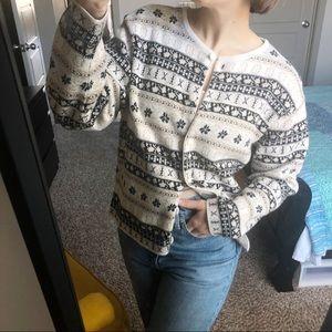 Vintage Tan Print Cardigan Sweater Talbots Black M